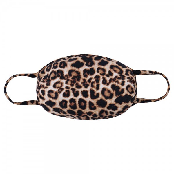 Reusable Cheetah Print T-Shirt Cloth Face Mask.  - Machine Wash in Cold - Mild Detergent - Lay Flat to Dry - Do Not Bleach - Reusable Face Mask - These Mask have NO Filter - One Size Fits Most Adults - Exterior Material: 95% Polyester / 5% Spandex - Interior Material: Cotton Blend in Ivory or White  These Masks Are Not For Professional Use and Not Medically Rated. These Masks Have No Proven Effectiveness Against Any Viruses.