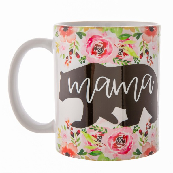 Mama Bear Floral Printed Ceramic Coffee Mug.  - Double Sided - Dishwasher Safe - Microwave Safe - Holds up to approximately 11 fl oz.