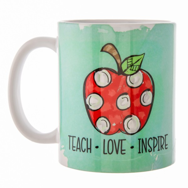"""Mint Green """"Teach, Love, Inspire"""" Teacher Printed Ceramic Coffee Mug.  - Double Sided - Dishwasher Safe - Microwave Safe - Holds up to approximately 11 fl oz."""