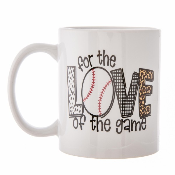 """""""For the Love of The Game"""" Baseball Leopard Print Ceramic Coffee Mug.  - Double Sided - Dishwasher Safe - Microwave Safe - Holds up to approximately 11 fl oz."""