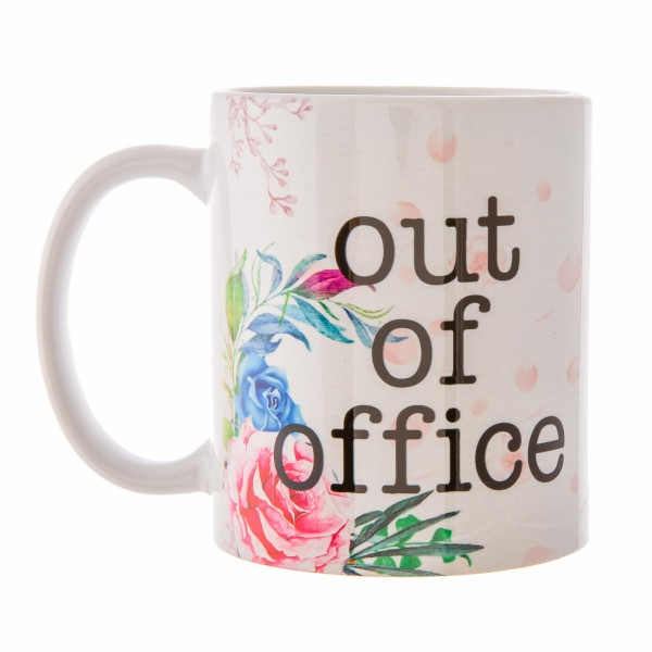 """""""Out of Office"""" Floral Printed Ceramic Coffee Mug.  - Double Sided - Dishwasher Safe - Microwave Safe - Holds up to approximately 11 fl oz."""