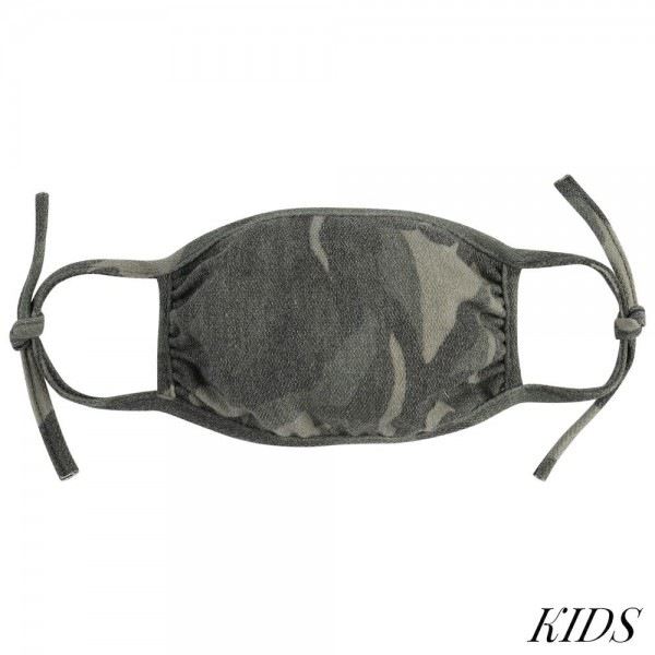 KIDS Adjustable Reusable Camouflage T-Shirt Cloth Face Mask.  - Machine Wash in Cold - Mild Detergent - Lay Flat to Dry - Do Not Bleach - Adjustable Reusable Face Mask - These Mask Have NO Filter - One Size Fits Most KIDS (AGES 5-11 years) - Exterior Material: 95% Polyester / 5% Spandex - Interior Material: Cotton Blend in Ivory or White  These Masks Are Not For Professional Use and Not Medically Rated. These Masks Have No Proven Effectiveness Against Any Viruses.