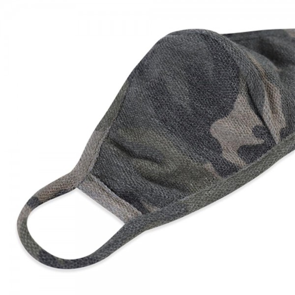 Reusable Camouflage T-Shirt Cloth Face Mask with Seam.  - Machine Wash in Cold - Mild Detergent - Lay Flat to Dry - Do Not Bleach - Reusable Face Mask - These Mask have NO Filter - One Size Fits Most Adults - Exterior Material: 95% Polyester / 5% Spandex - Interior Material: Cotton Blend in Ivory or White  These Masks Are Not For Professional Use and Not Medically Rated. These Masks Have No Proven Effectiveness Against Any Viruses.