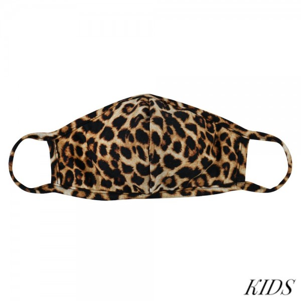 KIDS Reusable Cheetah Print T-Shirt Cloth Face Mask with Seam.  - Machine Wash in Cold - Mild Detergent - Lay Flat to Dry - Do Not Bleach - Reusable Face Mask - These Mask have NO Filter - One Size Fits Most KIDS (AGES 5-11 years) - Exterior Material: 95% Polyester / 5% Spandex - Interior Material: Cotton Blend in Ivory or White  These Masks Are Not For Professional Use and Not Medically Rated. These Masks Have No Proven Effectiveness Against Any Viruses.