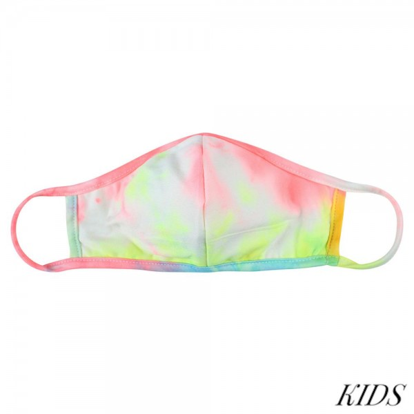 KIDS Reusable Tie-Dye Print T-Shirt Cloth Face Mask with Seam.  - Machine Wash in Cold - Mild Detergent - Lay Flat to Dry - Do Not Bleach - Reusable Face Mask - These Mask have NO Filter - One Size Fits Most KIDS (AGES 5-11 years) - Exterior Material: 95% Polyester / 5% Spandex - Interior Material: Cotton Blend in Ivory or White  These Masks Are Not For Professional Use and Not Medically Rated. These Masks Have No Proven Effectiveness Against Any Viruses.