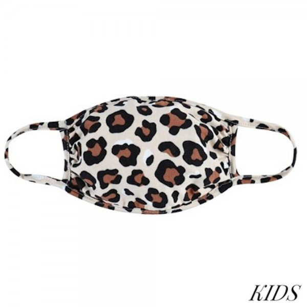KIDS Reusable Leopard Print T-Shirt Cloth Face Mask.  - Machine Wash in Cold - Mild Detergent - Lay Flat to Dry - Do Not Bleach - Reusable Face Mask - These Mask have NO Filter - One Size Fits Most KIDS (AGES 5-11 years) - Exterior Material: 95% Polyester / 5% Spandex - Interior Material: Cotton Blend in Ivory or White  These Masks Are Not For Professional Use and Not Medically Rated. These Masks Have No Proven Effectiveness Against Any Viruses.