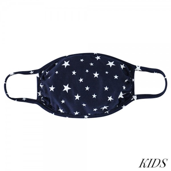 KIDS Reusable Star Print T-Shirt Cloth Face Mask.  - Machine Wash in Cold - Mild Detergent - Lay Flat to Dry - Do Not Bleach - Reusable Face Mask - These Mask have NO Filter - One Size Fits Most KIDS (AGES 5-11 years) - Exterior Material: 95% Polyester / 5% Spandex - Interior Material: Cotton Blend in Ivory or White  These Masks Are Not For Professional Use and Not Medically Rated. These Masks Have No Proven Effectiveness Against Any Viruses.