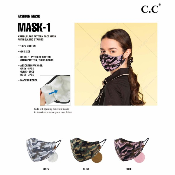 C.C MASK-1-CAMO Reusable CAMOUFLAGE Cloth Face Mask with Filter Insert. (12 Pack)  - Machine Wash in Cold - Mild Detergent - Lay Flat to Dry - Do Not Bleach - Washable & Reusable  - These Mask Have NO Filter - Filter Insert (Filter Not Included)** - One Size Fits Most Adults - Fabric Content: Double Layers of 100% Cotton with Elastic Strings - Pack Breakdown: 12 Mask Per Pack - 5 Grey, 5 Olive & 2 Pink  ** Filter Sold Separately ** These Masks Are Not For Professional Use and Not Medically Rated. These Masks Have No Proven Effectiveness Against Any Viruses. *** ALL Sales Final Due to CDC Recommendations