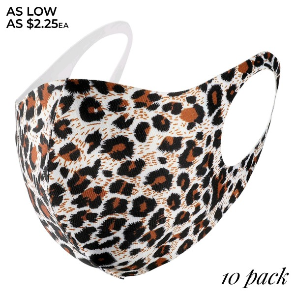 Non-Medical Leopard Print Fashion Design Face Mask Featuring Adjustable Ear Loops & Filter Insert. (10 PACK)  - Non-Medical Fashion Face Mask - Stretchable Design - Breathing Vent - Blocks Sunlight, Dust Particles, and/or Wind - Washable and Reusable - Wash After Each Use - Does Not Protect Against Toxic Gases  - One size fits most Adults - Pack Breakdown: 10 Mask Per Pack - Each Mask Are Individually Wrapped
