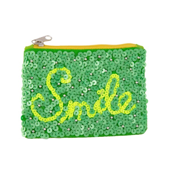 "Lime Green Sequin ""Smile"" Coin Pouch.  - Zipper Closure - Open Lined Inside  - No Pockets  - Spot Clean Only  - Approximately 4"" T x 3.5"" W - 100% Cotton"