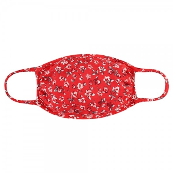ADULTS Reusable Floral Print T-Shirt Cloth Face Mask.   - Machine Wash in Cold - Mild Detergent - Lay Flat to Dry - Do Not Bleach - Reusable Face Mask - These Mask have NO Filter - One Size Fits Most Adults - Exterior Material: 95% Polyester / 5% Spandex - Interior Material: Cotton Blend in Ivory or White  ** These Masks Are Not For Professional Use and Not Medically Rated. These Masks Have No Proven Effectiveness Against Any Viruses. *** ALL Sales Final Due to CDC Recommendations