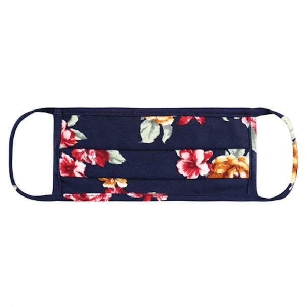 ADULTS Reusable Floral Print T-Shirt Cloth Face Mask with Pleats.  - Machine Wash in Cold - Mild Detergent - Lay Flat to Dry - Do Not Bleach - Reusable Face Mask - These Mask have NO Filter - One Size Fits Most Adults - Exterior Material: 95% Polyester / 5% Spandex - Interior Material: Cotton Blend in Ivory or White  These Masks Are Not For Professional Use and Not Medically Rated. These Masks Have No Proven Effectiveness Against Any Viruses.