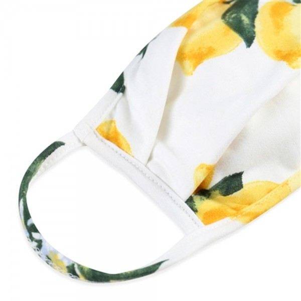 ADULTS Reusable Lemon Print T-Shirt Cloth Face Mask with Pleats.  - Machine Wash in Cold - Mild Detergent - Lay Flat to Dry - Do Not Bleach - Reusable Face Mask - These Mask have NO Filter - One Size Fits Most Adults - Exterior Material: 95% Polyester / 5% Spandex - Interior Material: Cotton Blend in Ivory or White  These Masks Are Not For Professional Use and Not Medically Rated. These Masks Have No Proven Effectiveness Against Any Viruses.