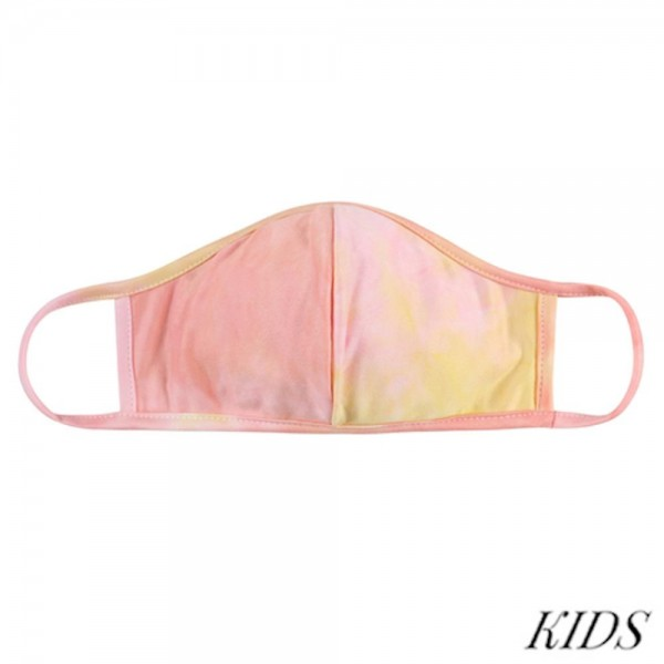 KIDS Reusable Tie-Dye T-Shirt Cloth Face Mask with Seam.  - Machine Wash in Cold - Mild Detergent - Lay Flat to Dry - Do Not Bleach - Reusable Face Mask - These Mask have NO Filter - One Size Fits Most KIDS (Ages 5-11) - Exterior Material: 95% Polyester / 5% Spandex - Interior Material: Cotton Blend in Ivory or White  These Masks Are Not For Professional Use and Not Medically Rated. These Masks Have No Proven Effectiveness Against Any Viruses.