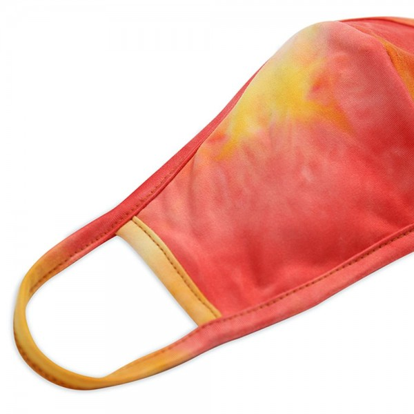 Reusable Tie-Dye T-Shirt Cloth Face Mask with Seam.  - Machine Wash in Cold - Mild Detergent - Lay Flat to Dry - Do Not Bleach - Reusable Face Mask - These Mask have NO Filter - One Size Fits Most Adults - Exterior Material: 95% Polyester / 5% Spandex - Interior Material: Cotton Blend in Ivory or White  These Masks Are Not For Professional Use and Not Medically Rated. These Masks Have No Proven Effectiveness Against Any Viruses.