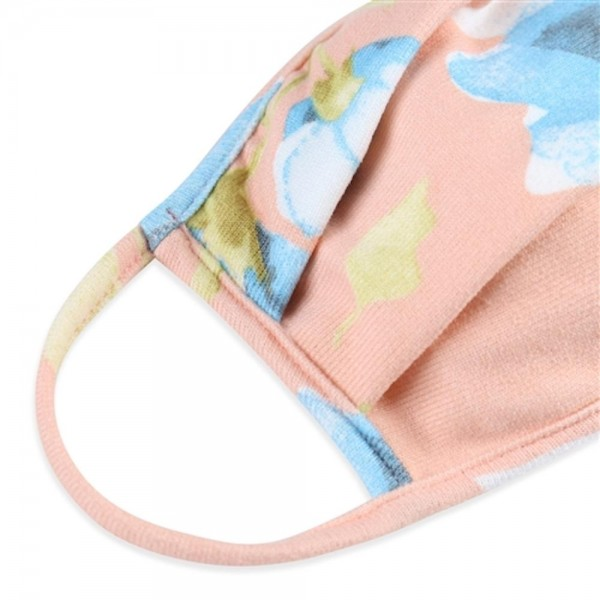ADULTS Reusable Floral Pleated T-Shirt Cloth Face Mask.   - Machine Wash in Cold - Mild Detergent - Lay Flat to Dry - Do Not Bleach - Reusable Face Mask - These Mask have NO Filter - One Size Fits Most Adults - Exterior Material: 95% Polyester / 5% Spandex - Interior Material: Cotton Blend in Ivory or White  ** These Masks Are Not For Professional Use and Not Medically Rated. These Masks Have No Proven Effectiveness Against Any Viruses. *** ALL Sales Final Due to CDC Recommendations