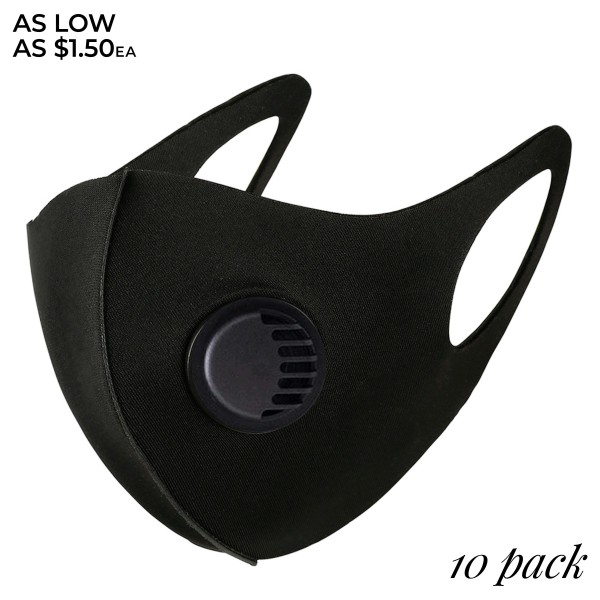 Non-Medical Black Stretchable Fashion Design Face Mask Featuring Breathing Vent, Adjustable Ear Loops & Filter Insert. (10 PACK)  - Non-Medical Fashion Face Mask - Stretchable Design - Breathing Vent - Blocks Sunlight, Dust Particles, and/or Wind - Washable and Reusable - Wash After Each Use - Does Not Protect Against Toxic Gases  - One size fits most Adults - Pack Breakdown: 10 Mask Per Pack - Each Mask Are Individually Wrapped