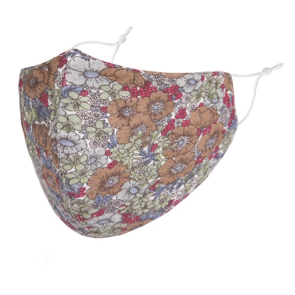Non-Medical Floral Print Fashion Face Mask with Seam & Adjustable Ear Loops.  - Wash Before Use - Reusable / Washable / Latex Free - Eco-Friendly - Protects from Dust / Fog / Spray / Pollen - Double Layered Fabric - Adjustable Ear Loops - One size fits most Adults - Cotton & Elastic   *** ALL Sales Final Due to CDC Recommendations
