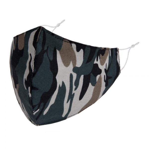 Non-Medical Camouflage Washable & Reusable Fashion Face Mask with Seam & Adjustable Ear Loop.  - Wash Before Use - Reusable / Washable / Latex Free - Eco-Friendly - Protects from Dust / Fog / Spray / Pollen - Adjustable Earloop - One size fits most Adults - Cotton & Elastic  *** ALL Sales Final Due to CDC Recommendations