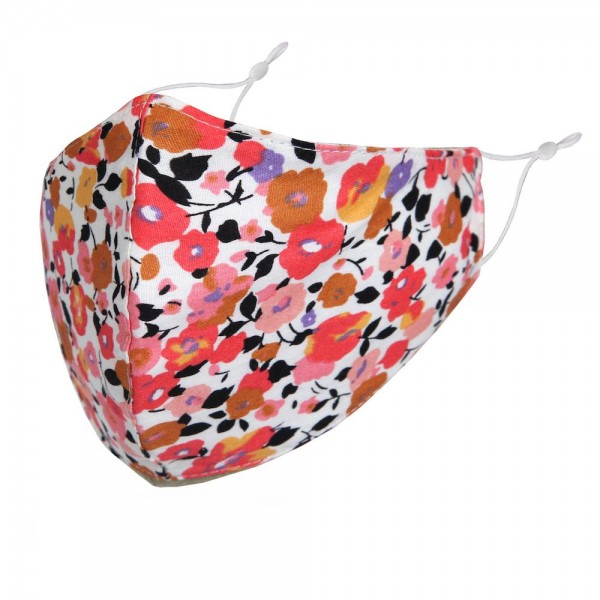 Non-Medical Floral Print Washable & Reusable Fashion Face Mask with Seam & Adjustable Ear Loop.  - Wash Before Use - Reusable / Washable / Latex Free - Eco-Friendly - Protects from Dust / Fog / Spray / Pollen - Adjustable Earloop - One size fits most Adults - Cotton & Elastic   *** ALL Sales Final Due to CDC Recommendations