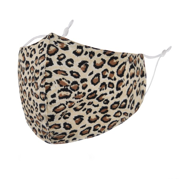 Non-Medical Leopard Print Washable & Reusable Fashion Face Mask with Seam & Adjustable Earloop.  - Wash Before Use - Reusable / Washable / Latex Free - Eco-Friendly - Protects from Dust / Fog / Spray / Pollen - Adjustable Earloop - One size fits most Adults - Cotton & Elastic