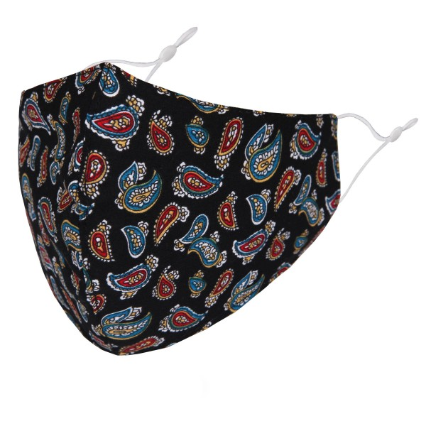 Non-Medical Paisley Print Washable & Reusable Fashion Face Mask with Seam & Adjustable Ear Loop.  - Wash Before Use - Reusable / Washable / Latex Free - Eco-Friendly - Protects from Dust / Fog / Spray / Pollen - Adjustable Ear Loop - One size fits most Adults - Cotton & Elastic   *** ALL Sales Final Due to CDC Recommendations