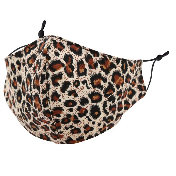 Non-Medical Leopard Print Washable & Reusable Fashion Face Mask with Adjustable Ear Loop.  - Wash Before Use - Reusable / Washable / Latex Free - Eco-Friendly - Protects from Dust / Fog / Spray / Pollen - One size fits most Adults - Cotton & Elastic  *** ALL Sales Final Due to CDC Recommendations