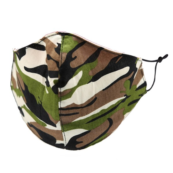 Non-Medical Camouflage Washable & Reusable Fashion Face Mask with Adjustable Ear Loop.  - Wash Before Use - Reusable / Washable / Latex Free - Eco-Friendly - Protects from Dust / Fog / Spray / Pollen - One size fits most Adults - Cotton & Elastic  *** ALL Sales Final Due to CDC Recommendations