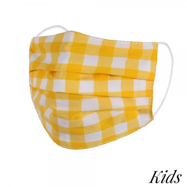 Wholesale kIDS Non Medical Checkered Pleated Washable Reusable Fashion Mask Wash