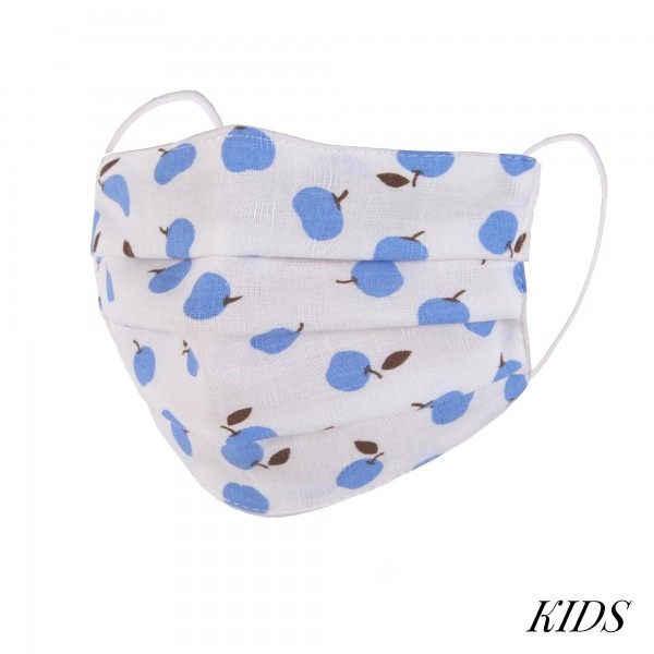 Wholesale kIDS Non Medical Apple Pleated Washable Reusable Fashion Mask Wash Bef