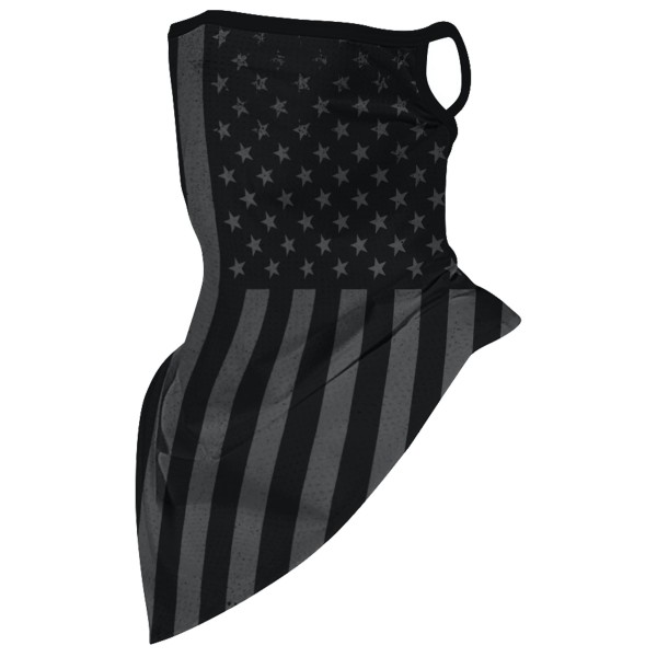 "Ghost American Flag Unisex Scarf Bandana Face Mask with Ear Loops.  - Non-Medical - No Filter - Quick Dry & Breathable Material - Helps Protect From UV / Dust / Wind / Sun   - One size fits most - Approximately 16"" L in Front & 6"" L in Back - Head Circumference Approximately 21"""