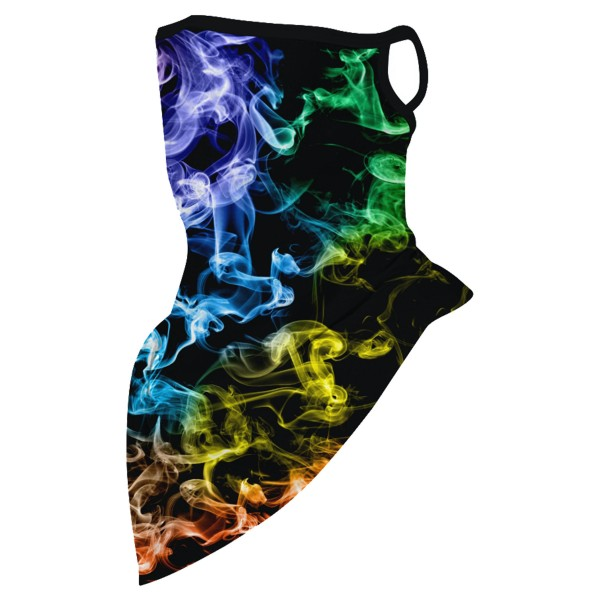 """Multicolor Smoke Haze Unisex Scarf Bandana Face Mask with Ear Loops.  - Non-Medical - No Filter - Quick Dry & Breathable Material - Helps Protect From UV / Dust / Wind / Sun   - One size fits most - Approximately 16"""" L in Front & 6"""" L in Back - Head Circumference Approximately 21"""""""