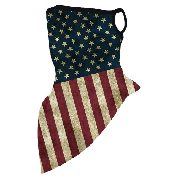 "Vintage American Flag Unisex Scarf Bandana Face Mask with Ear Loops.  - Non-Medical - No Filter - Quick Dry & Breathable Material - Helps Protect From UV / Dust / Wind / Sun   - One size fits most - Approximately 16"" L in Front & 6"" L in Back - Head Circumference Approximately 21"""