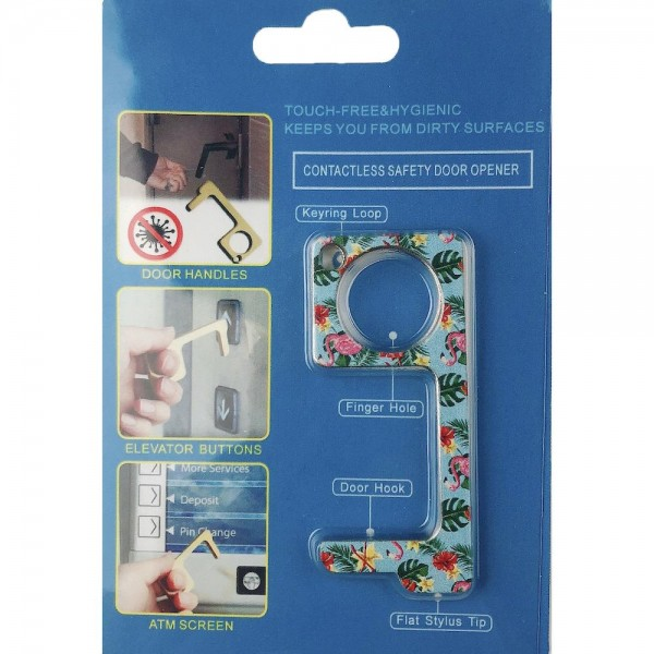 Keep Your Hands Safe with This Blue Fashion Design Contactless Safety Door Opener.  - Touch Free & Hygienic  - Keeps You From Touching Dirty Surfaces - Can Be Used For ATM Screens, Pin Pads, Door Handles Etc. - Features Keyring Loop, Finger Hole, Door Hook & Flat Tip  - Approximately 2.75""
