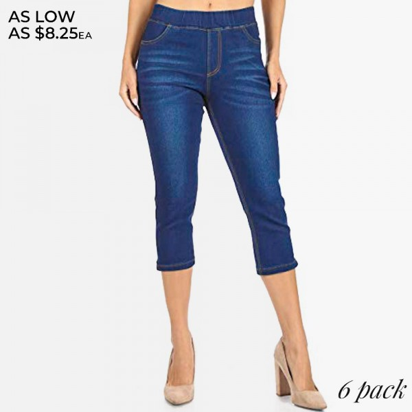 "Women's Classic Dark Denim Capri Jeggings.  - 1.5"" Elastic Waistband - 4 Functional Pockets - Pull-On Style  - Soft & Stretchy Material  - 1"" Split Detail on Bottom  - Pack Breakdown: 6pcs/pack - Sizes: 2-S / 2-M / 2-L  - Inseam approximately 19"" L - 76% Cotton / 22% Polyester / 2% Spandex"