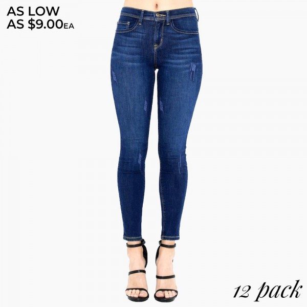 "Women's Classic Dark Denim Skinny Jeans with Washed & Distressed Details.  - Button & Zipper Closure - 5 Functional Pockets - Soft & Stretchy Material - Washed Distressed Style  - Pack Breakdown: 12pcs/pack - Sizes: 1-1 / 1-3 / 2-5 / 2-7 / 2-9 / 2-11 / 1-13 / 1-15 - Inseam approximately 26"" L - 76% Cotton / 22% Polyester / 2% Spandex"
