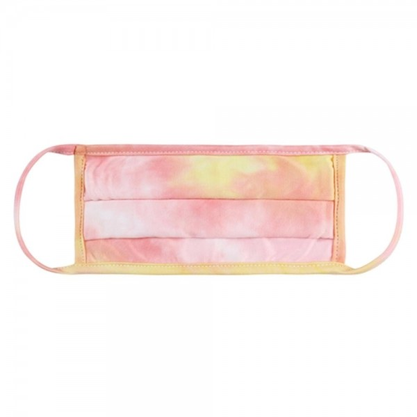 Adults Reusable Blush Pink & Yellow Tie-Dye Pleated T-Shirt Cloth Face Mask.  - Machine Wash in Cold - Mild Detergent - Lay Flat to Dry - Do Not Bleach - Reusable Face Mask - These Mask have NO Filter - One Size Fits Most Adults - Exterior Material: 95% Polyester / 5% Spandex - Interior Material: Cotton Blend in Ivory or White  These Masks Are Not For Professional Use and Not Medically Rated. These Masks Have No Proven Effectiveness Against Any Viruses.