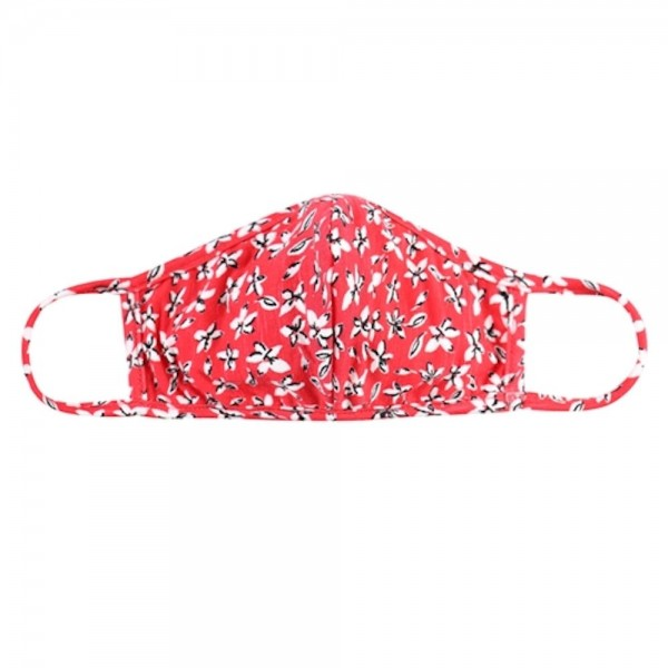 ADULTS Reusable Red Floral T-Shirt Cloth Face Mask with Seam.  - Machine Wash in Cold - Mild Detergent - Lay Flat to Dry - Do Not Bleach - Reusable Face Mask - These Mask have NO Filter - One Size Fits Most Adults - Exterior Material: 95% Polyester / 5% Spandex - Interior Material: Cotton Blend in Ivory or White  ** These Masks Are Not For Professional Use and Not Medically Rated. These Masks Have No Proven Effectiveness Against Any Viruses. *** ALL Sales Final Due to CDC Recommendations