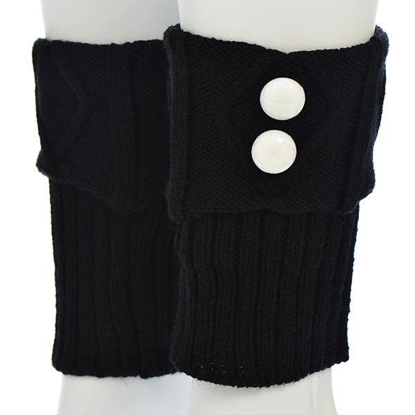 Wholesale black knit boot cuffs leg white buttons Acrylic