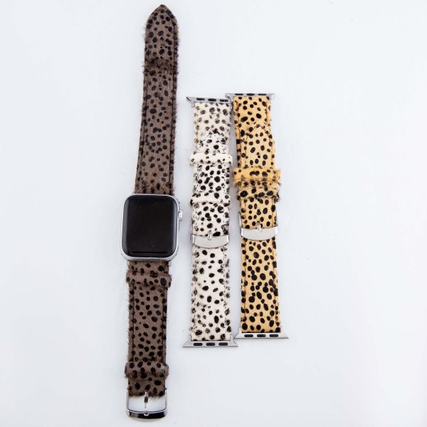 "Interchangeable Adjustable Genuine Leather Cheetah Print Cow Hide Smart Watch Band For Smart Watches.  - Fits 42mm Watch Face - Approximately 3"" in diameter - Adjustable Band - Fits up to a 7"" wrist"