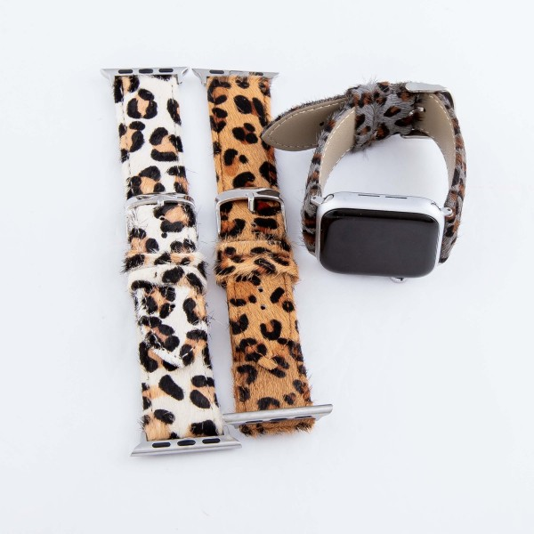 "Interchangeable Adjustable Genuine Leather Leopard Print Cow Hide Smart Watch Band For Smart Watches.  - Fits 42mm Watch Face - Approximately 3"" in diameter - Adjustable Band - Fits up to a 7"" wrist"