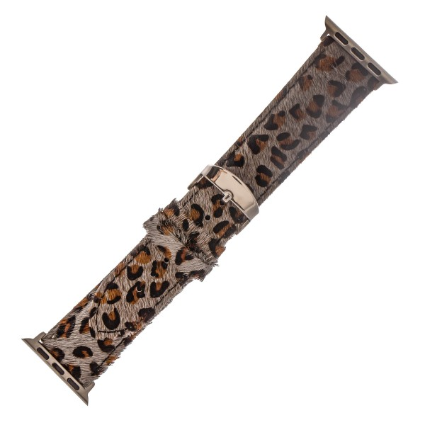"Interchangeable Adjustable Genuine Leather Leopard Print Cow Hide Smart Watch Band For Smart Watches.  - Fits 38mm Watch Face - Approximately 3"" in diameter - Adjustable Band - Fits up to a 7"" wrist"