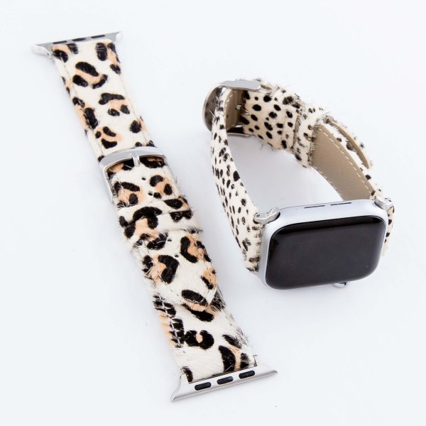 """Interchangeable Adjustable Genuine Leather Leopard Print Cow Hide Smart Watch Band For Smart Watches.  - Fits 42mm Watch Face - Approximately 3"""" in diameter - Adjustable Band - Fits up to a 7"""" wrist"""