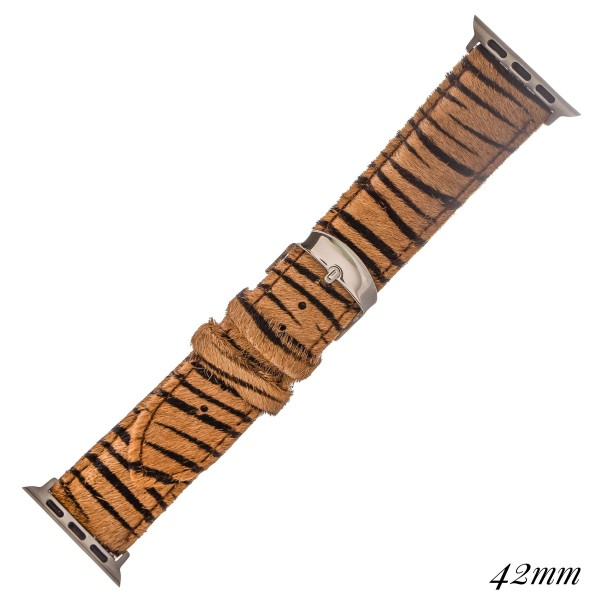 """Interchangeable Adjustable Genuine Leather Zebra Print Cow Hide Smart Watch Band For Smart Watches.  - Fits 42mm Watch Face - Approximately 3"""" in diameter - Adjustable Band - Fits up to a 7"""" wrist"""