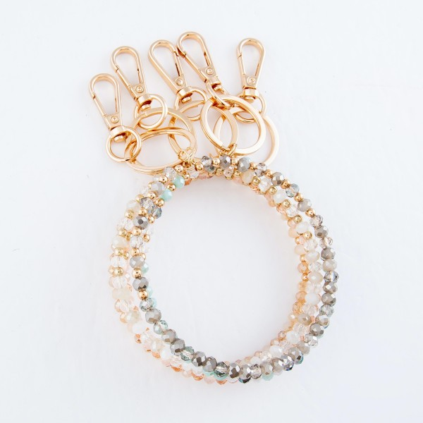 """Faceted Beaded Key Ring Bangle Keychain Holder.  - Hold keys while wearing on wrist or bag - Approximately 3.5"""" in Diameter"""