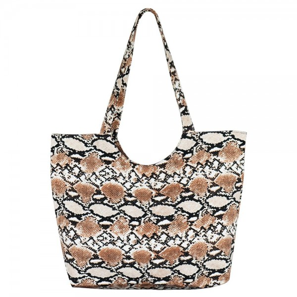 """Brown Snakeskin Tote Bag.  - Zipper Closure - Open Lined Inside - One Inside Functional Pocket - Handles Hang 13"""" L - Approximately 14.5"""" T x 20"""" W - 65% Polyester / 35% Cotton"""