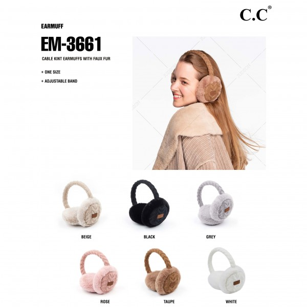 C.C EM-3661 Cable Knit Earmuffs Featuring Faux Fur Trim.  - One size fits most  - Adjustable Band