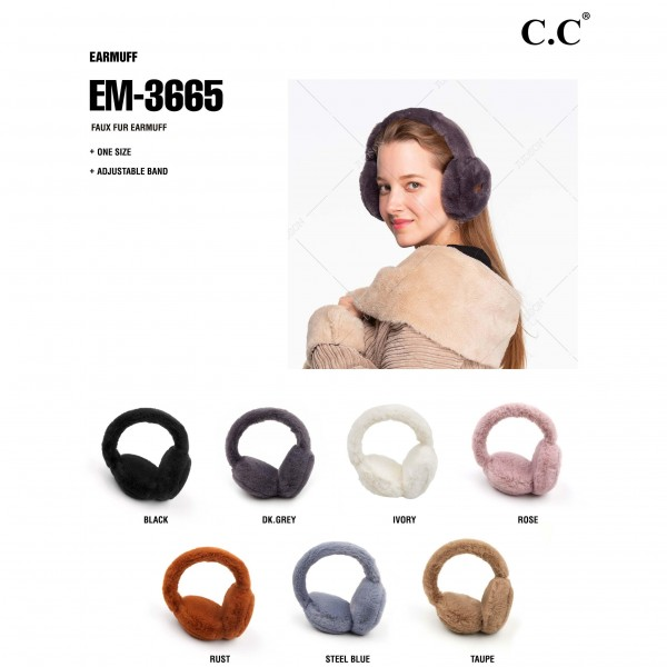 C.C EM-3665 Faux Fur Earmuffs.  - One size fits most  - Adjustable Band