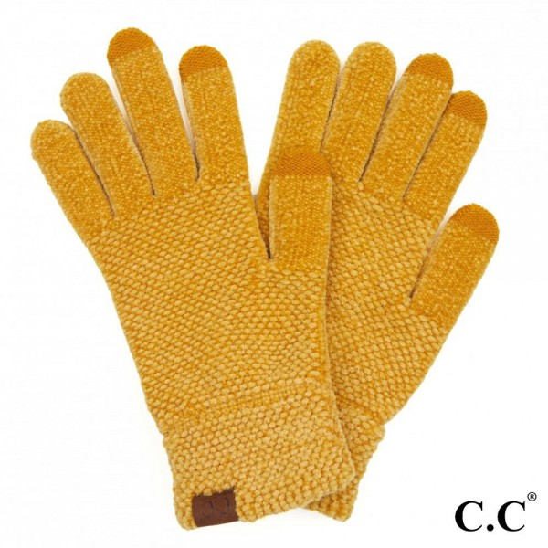 C.C G-9016 Solid Chenille Knit Smart Touch Gloves.  - Touchscreen Compatible  - One size fits most - 100% Polyester