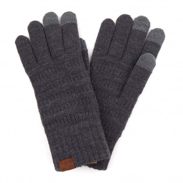 C.C G-9018 Solid Ribbed Knit Smart Touch Gloves   - Touchscreen Compatible  - One size fits most - 42% Acrylic / 32% Polyester / 26% Nylon
